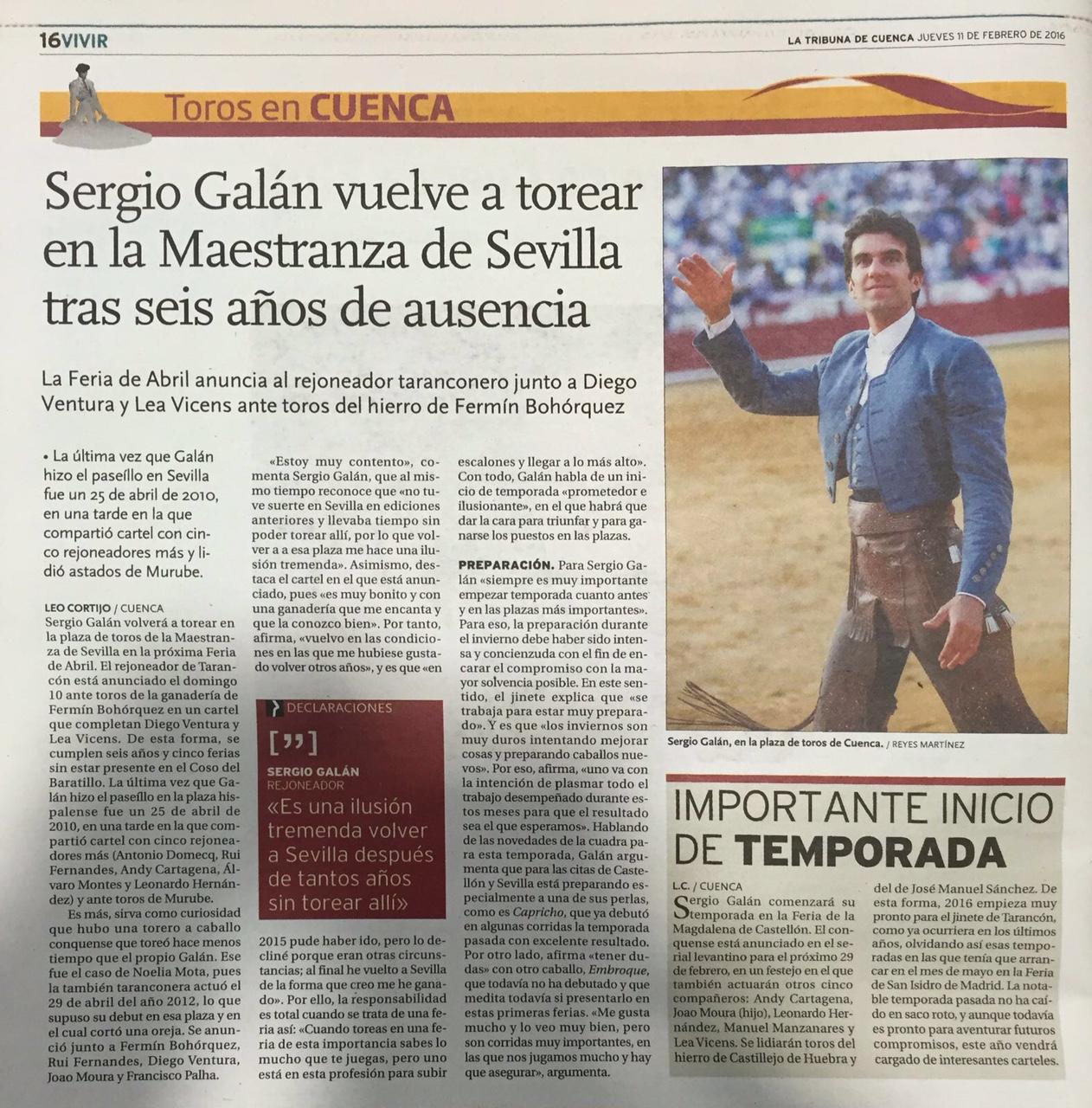 """Sergio Galán; """"Es una tremenda ilusión, volver a Sevilla""""( La Tribuna de Cuenca)"""